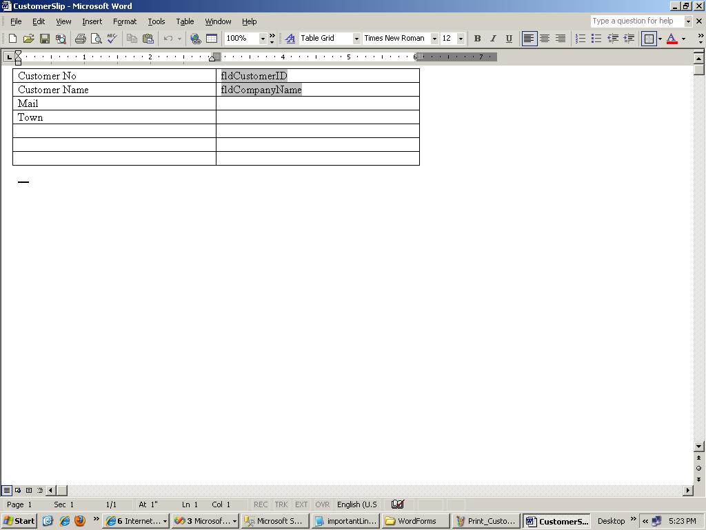 Not answered fill existing microsoft word document from sql table