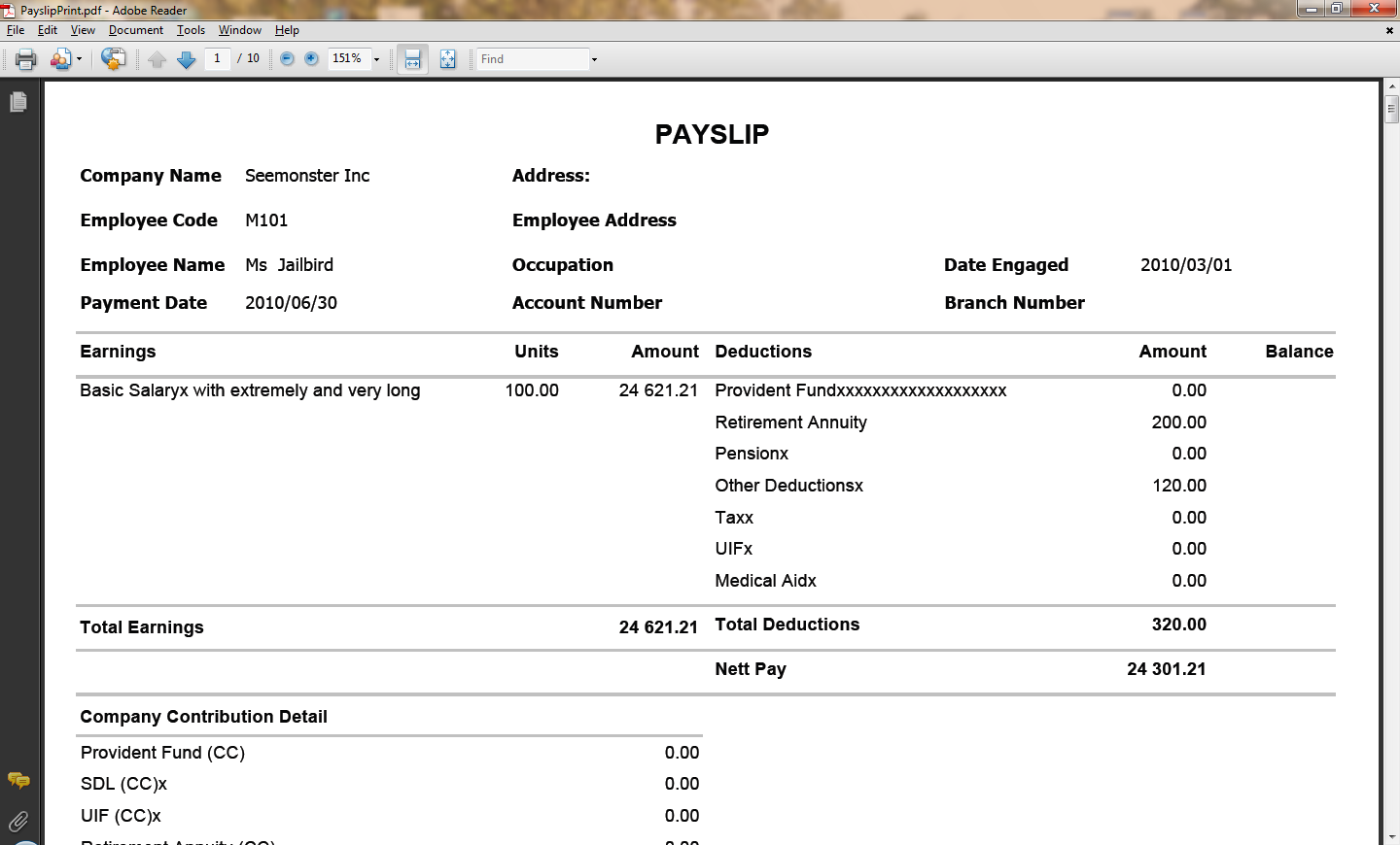 Simple Payslip Format receipt template doc – Simple Payslip Template