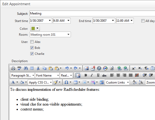 integrating radeditor in the advanced form of radscheduler
