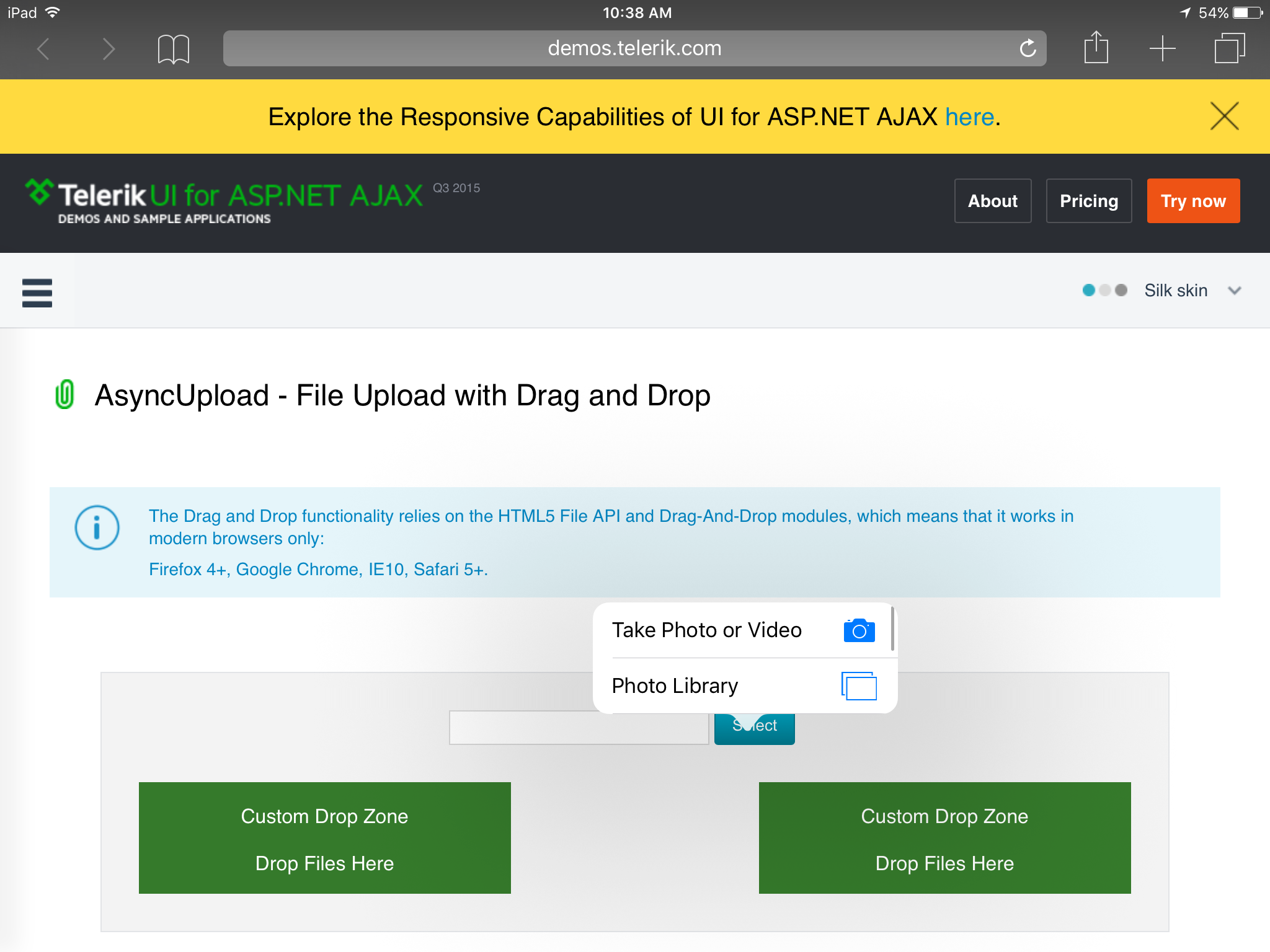 RadAsyncUpload with iPad - file access - AsyncUpload - UI for ASP ...