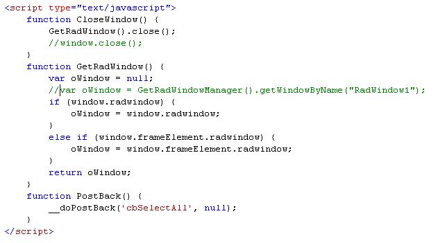 Rad Window close on server side button click event in UI for ASP NET