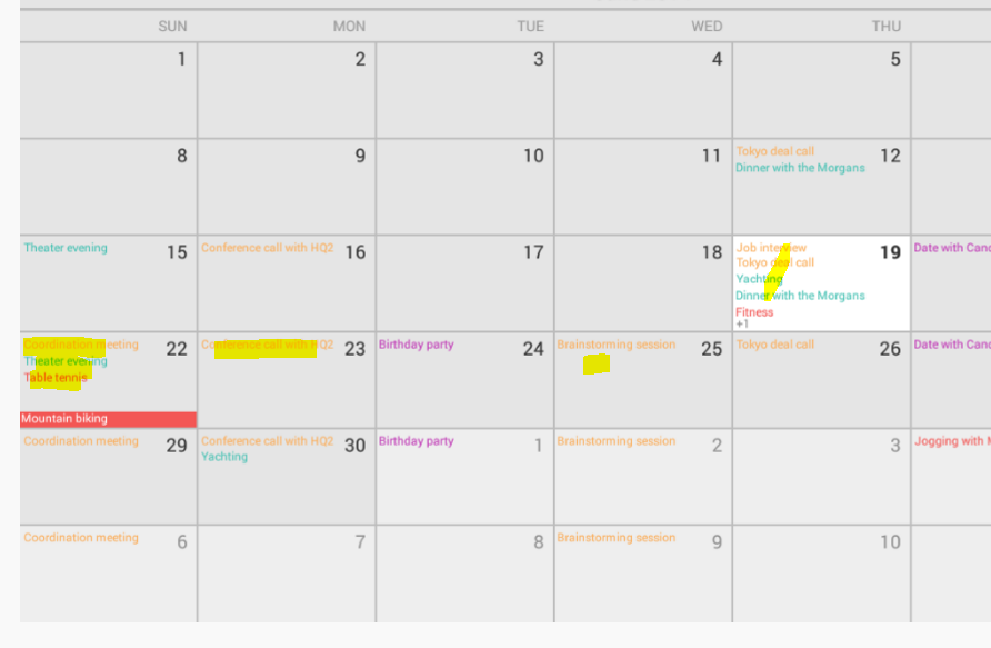 How to display events on particular date on calender in