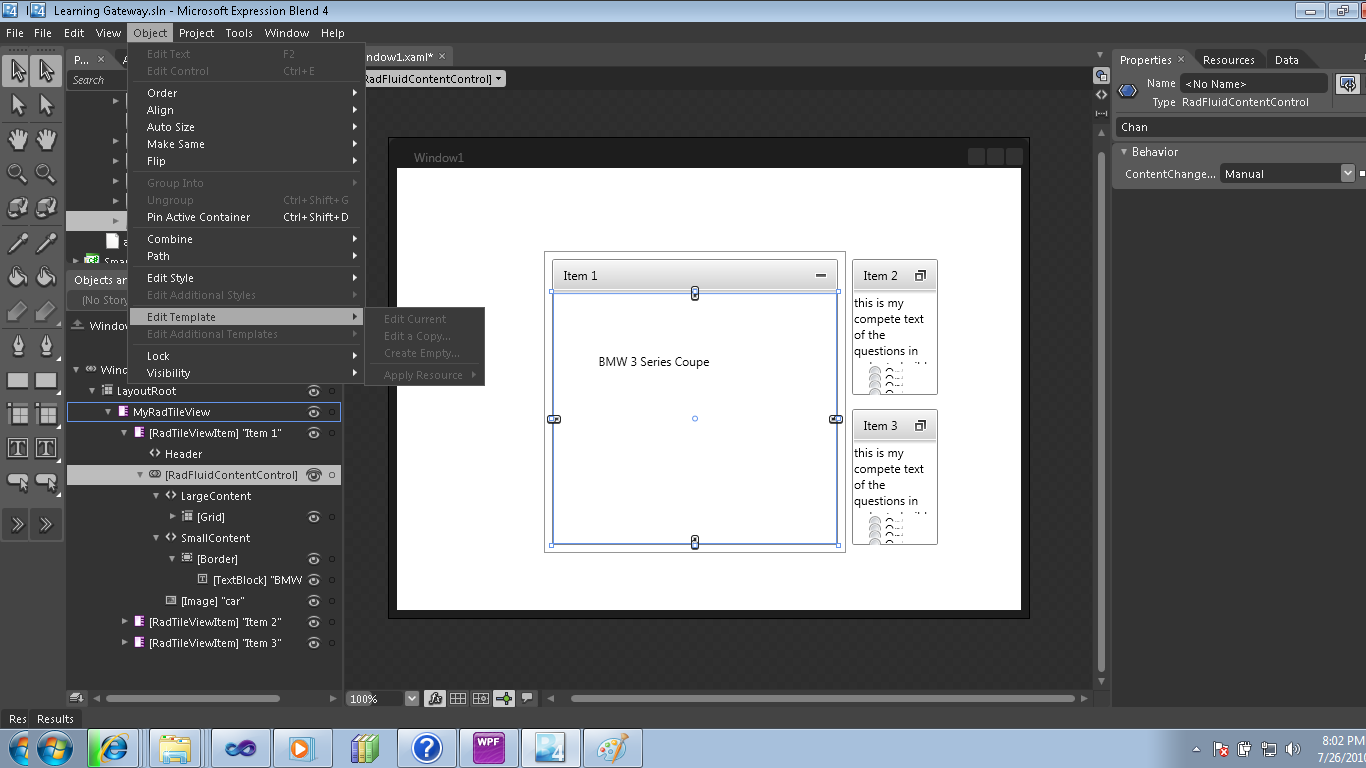 Control Template For Item Mimimize And Maximize State In Ui For Wpf
