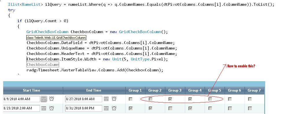 Rad GridCheckBoxColumn Enabling in UI for ASP NET AJAX Grid