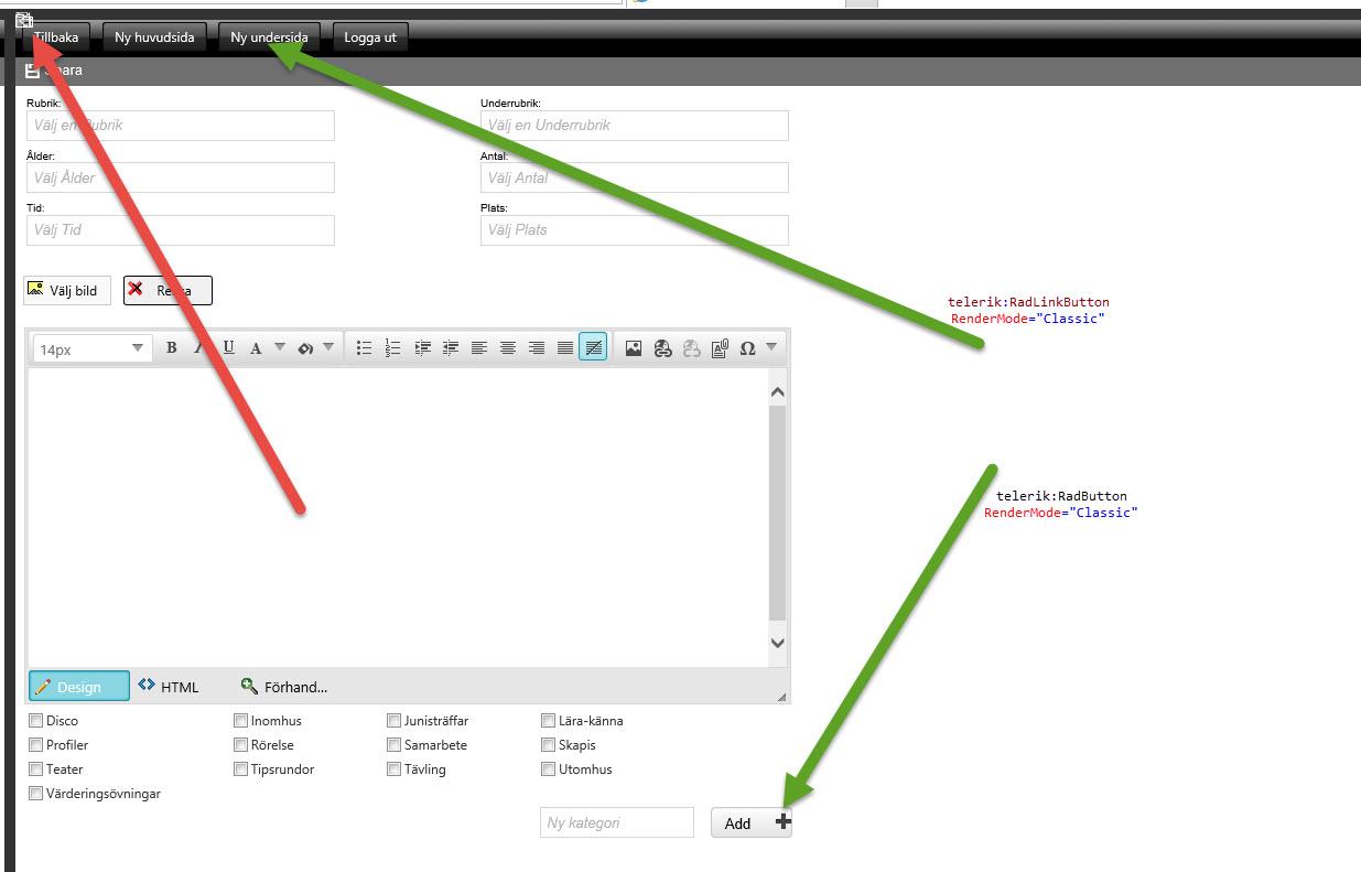 RadLinkButton + RadButton and RenderMode in UI for ASP.NET