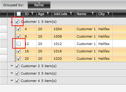 Select/unselect all options on group header in UI for