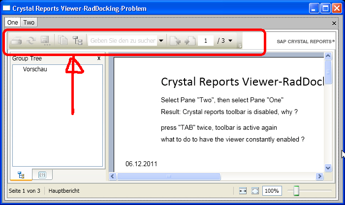 Crystal Reports Viewer in RadDocking - Toolbar problem in UI