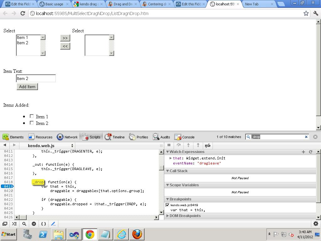 Have problems implemeting draggable list box items in IE