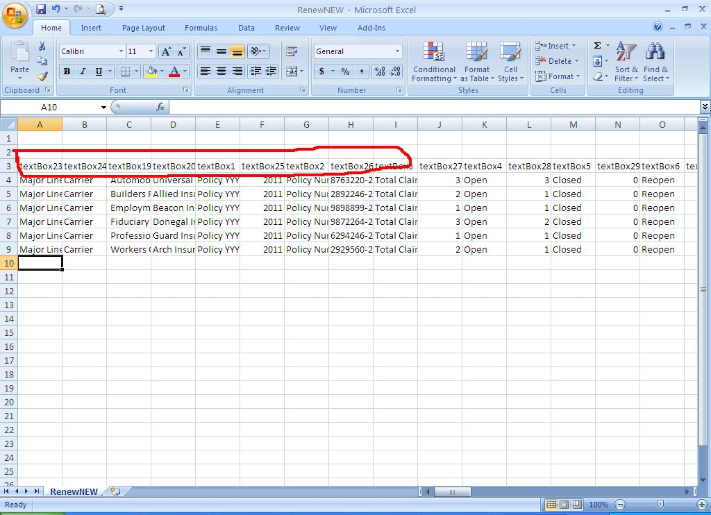 Exports to CSV contains header as textbox name in Reporting