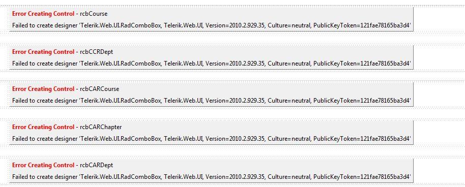 Error Creating Control Failure Creating Designer In Ui For Asp Net Ajax General Discussions Telerik Forums