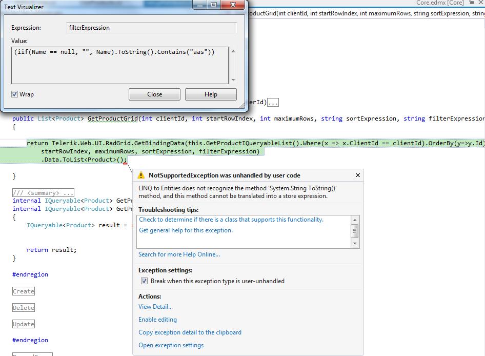 RadGrid GetBindingData and Entity Framework in UI for ASP