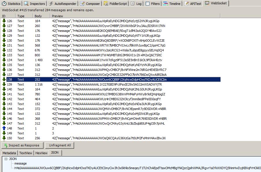 WebSocket message is not human readable in Fiddler Fiddler on PCs