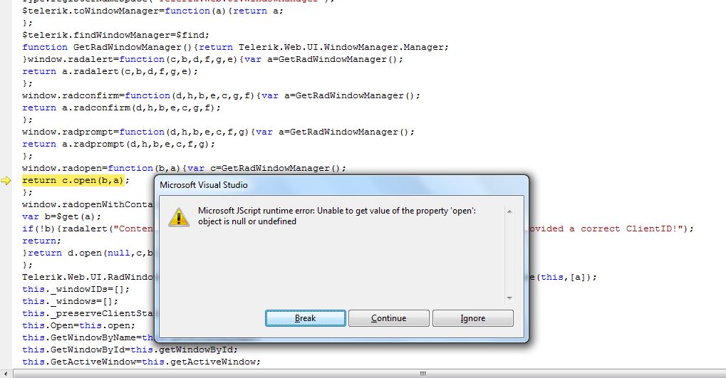Microsoft JScript runtime error: Object doesn\u0027t support property or