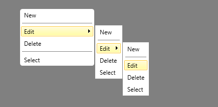 Rounded corner radcontextmenu style for submenu for Wpf menu style template
