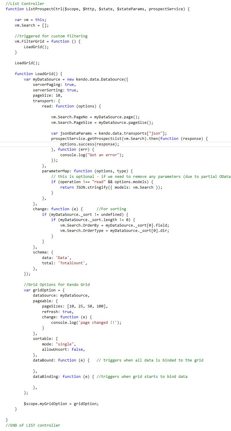 Implement own custom server side external filter using angular js