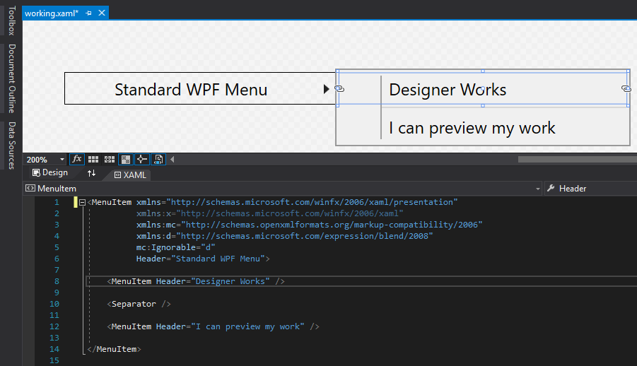 Menu Items not visible in designer in UI for WPF Menu