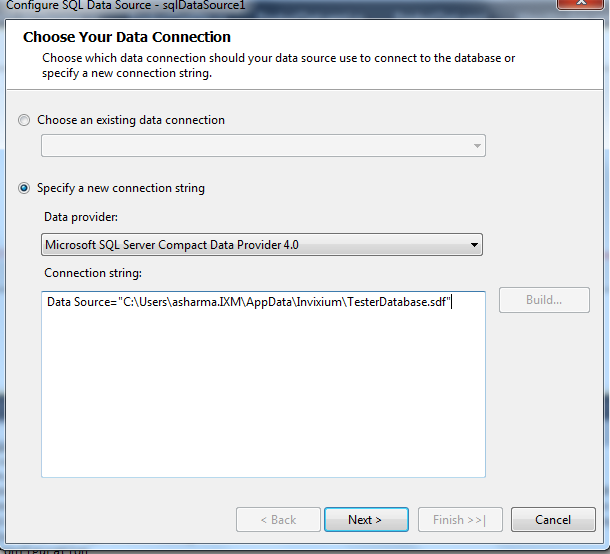 Connect SQL Server Compact Database to Report in Reporting