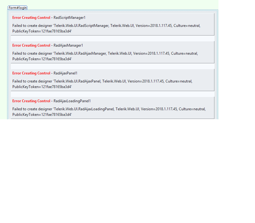 Error Creating Control Radscriptmanager1failed To Create Designer Telerik Web Ui Radscriptmanager Telerik Web Ui Version 2018 1 117 45 Culture N In Ui For Asp Net Ajax Installer And Vs Extensions Telerik Forums