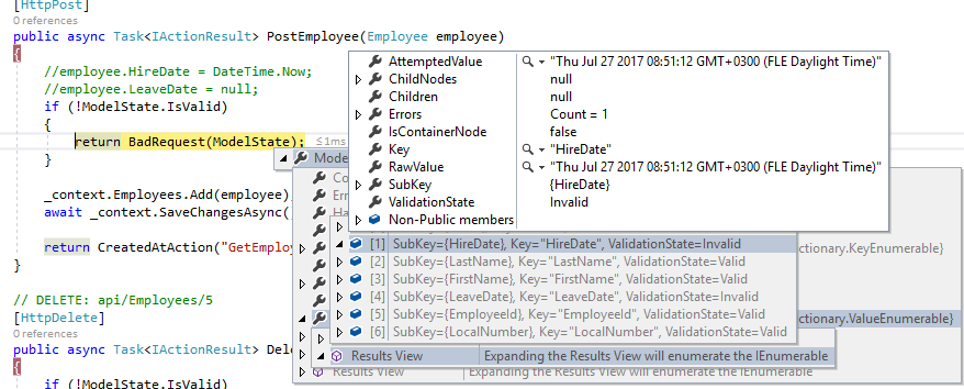 model state validation for DateTime Input in UI for ASP NET