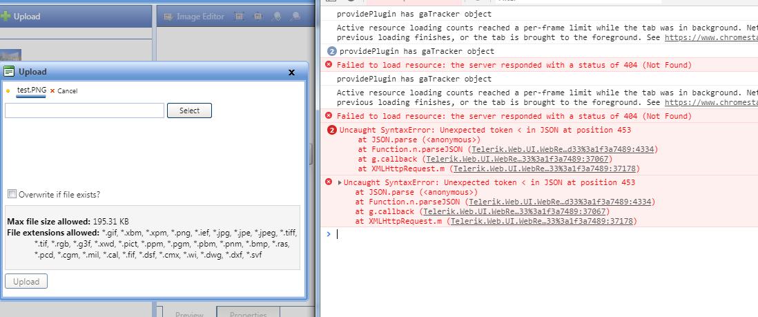 Image Manager - JSON parse error when uploading images and Image