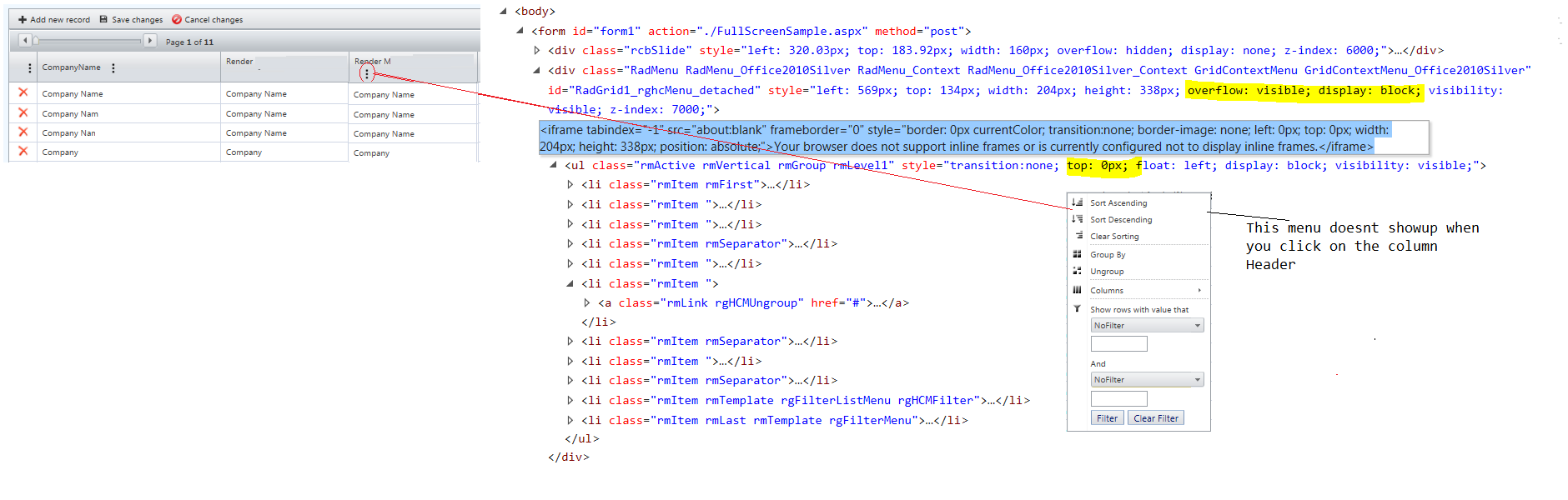 Radgrid in Full screen mode - Iframe issue in UI for ASP NET AJAX