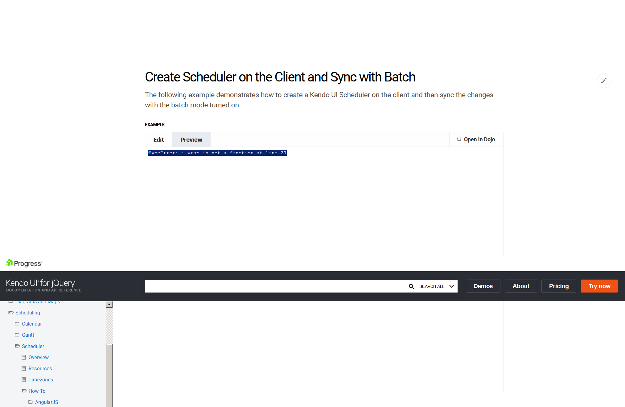 Scheduler - Remote DataSource Bug (i wrap is not a function) in