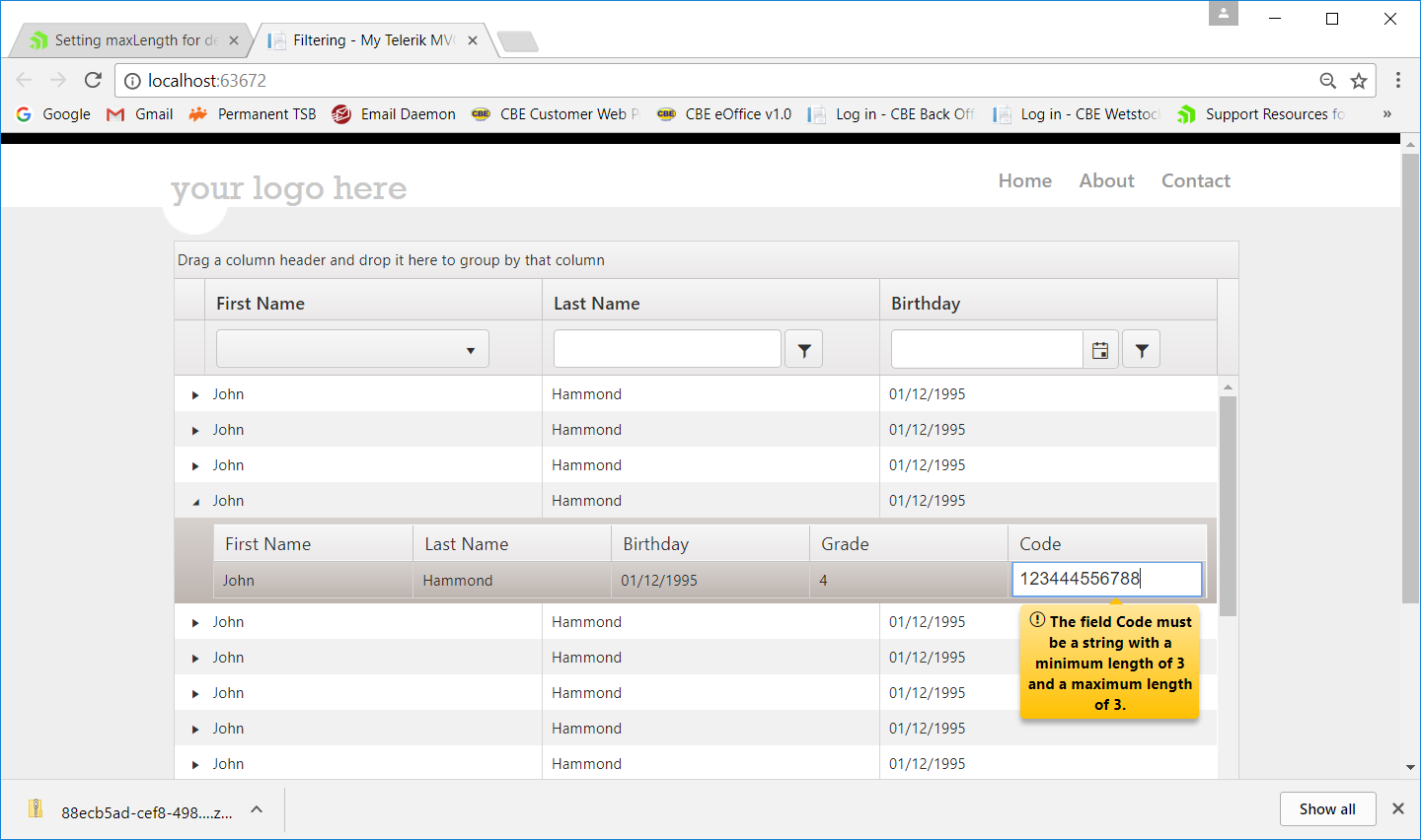 Setting maxLength for details grid inline edit field in UI for ASP