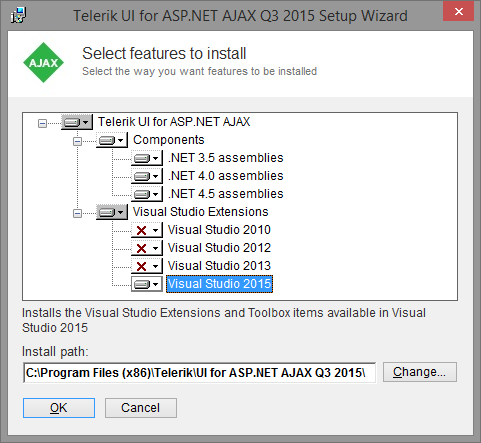 Visual Studio 2015 Professional and Telerik Toolbox in UI for ASP