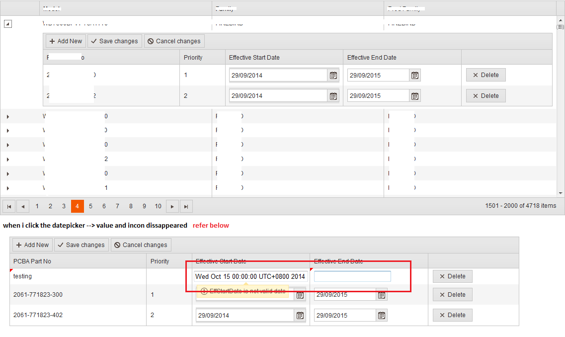 Datepicker in nested grid giving problem in UI for ASP NET MVC Grid