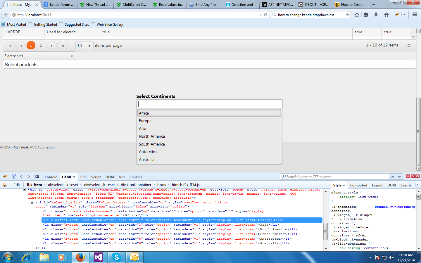 change css of Multiselect dropdown list div in Kendo UI for jQuery