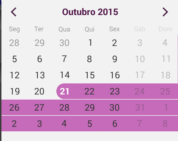 Select a date and select 30 days next in UI for Android Calendar