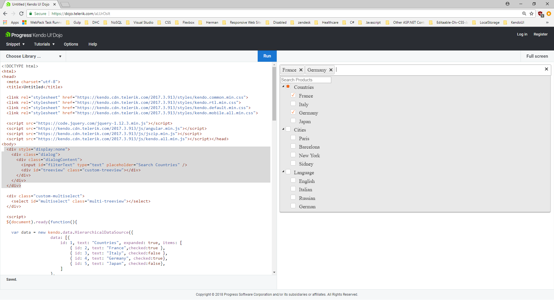 Combine MultiSelect with TreeView in Kendo UI for jQuery