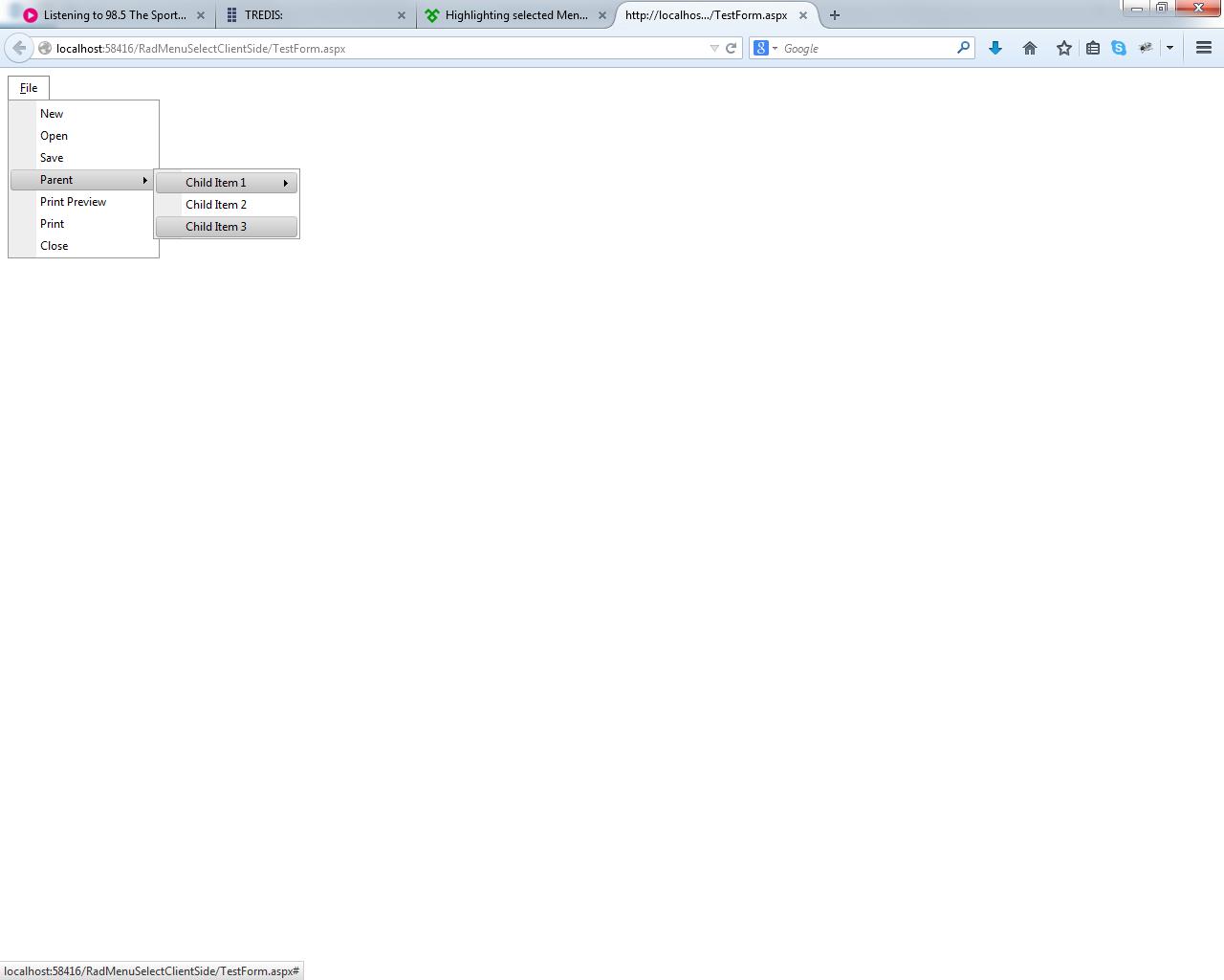 Highlighting selected Menu from javascript in UI for ASP NET