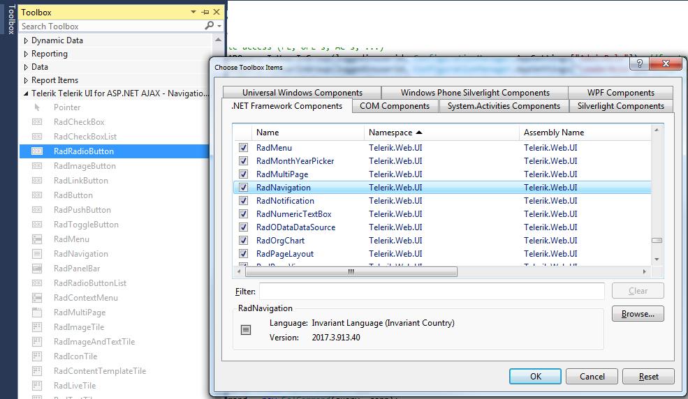 Visual Studio 2015 Professional and Telerik Toolbox in UI for ASP