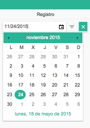 Kendo UI PHP Grid Filter Row Date Picker in Spanish date