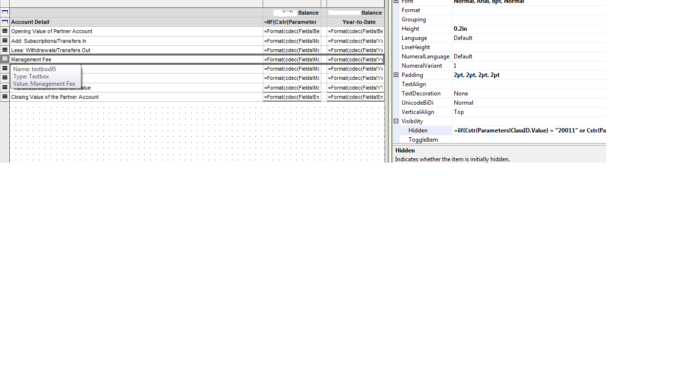 Dynamically hide Rows and Columns in Reporting Reporting