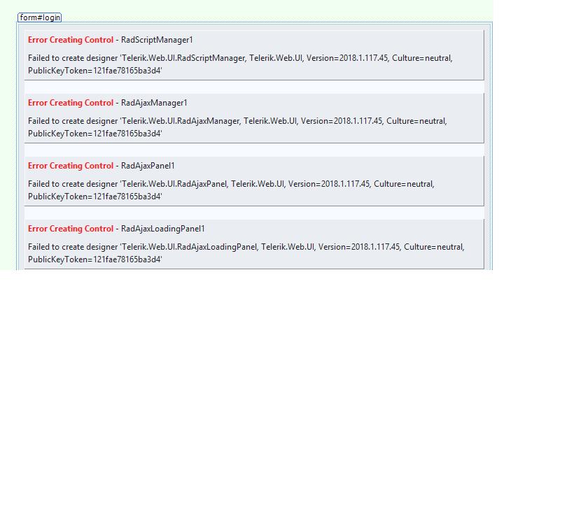 Telerik Designer Error Creating Control in UI for ASP NET