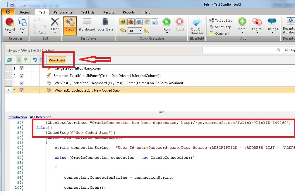 Error while connecting to Oracle database in Test Studio