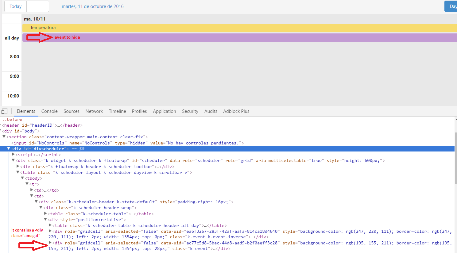 Hide An All Day Event With Template Scheduler Ui For Asp Net Mvc
