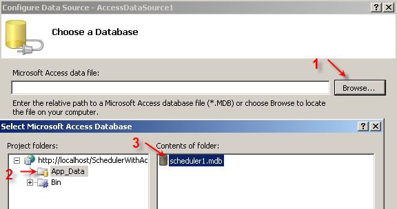 Choose scheduler1.mdb