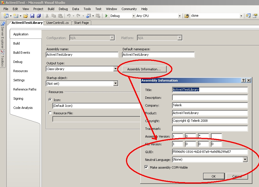 Wrapping a  NET user control as an ActiveX - Telerik UI for