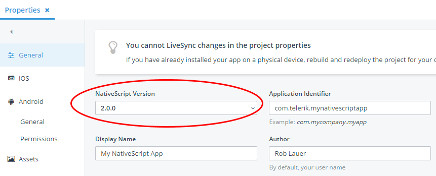 updating nativescript version