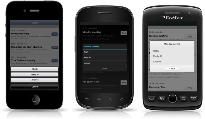 ActionSheet of Kendo UI Mobile