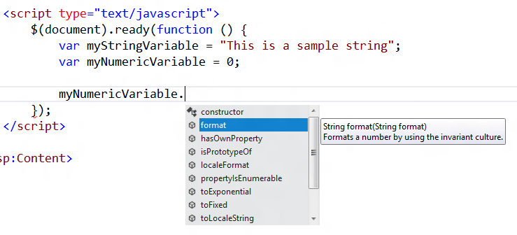 JavaScript Intellisense Numerical