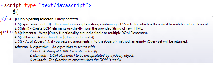 jQuery Intellisense and Documentation