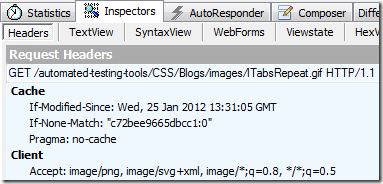 Fiddler Request Headers Inspector screenshot