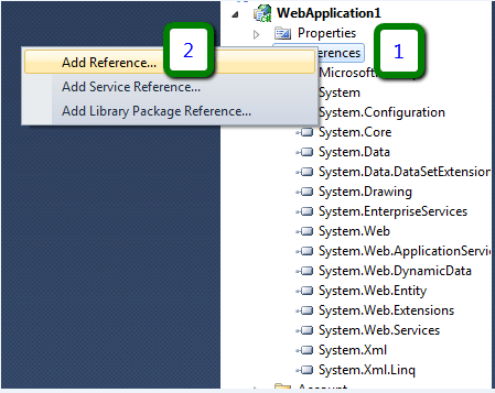 WebApplication Add Reference Dialog