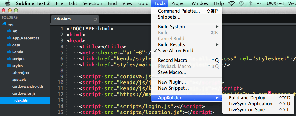 Image of AppBuilder menu in Sublime Text