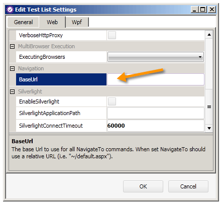 BaseURL in Test List Settings