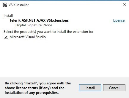 Telerik UI for ASP.NET Ajax VS 2017 Extensions
